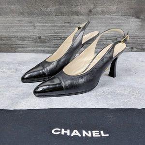 CHANEL black patent leather captoe slingback heel